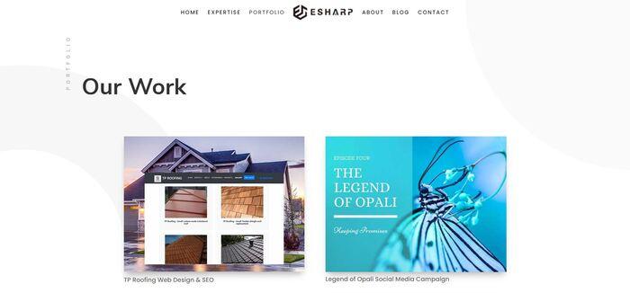 eSharp portfolio website 2
