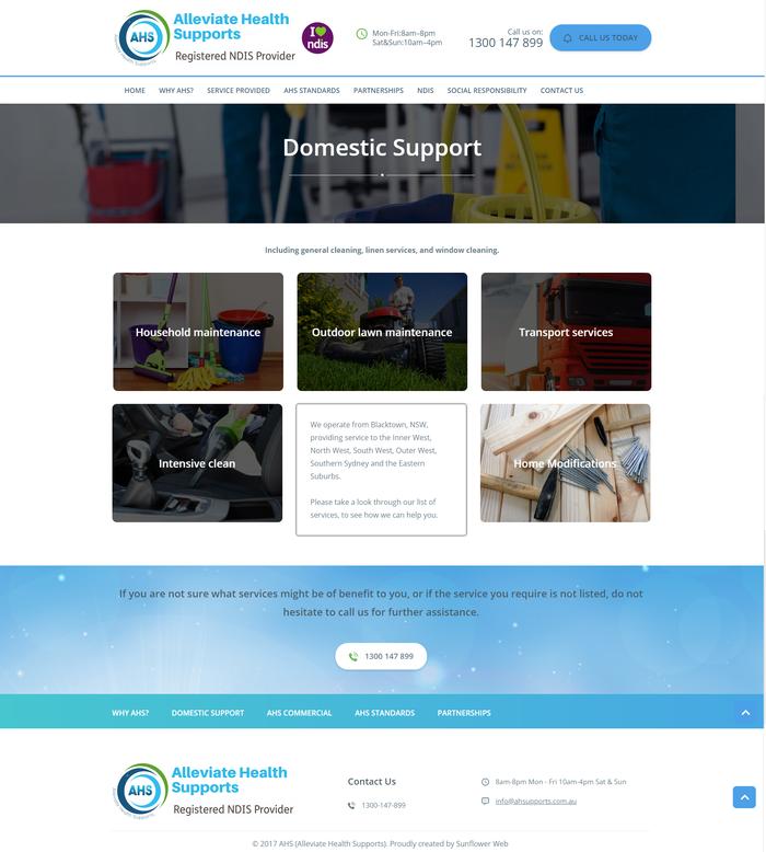 Alleviate Health Supports website 2