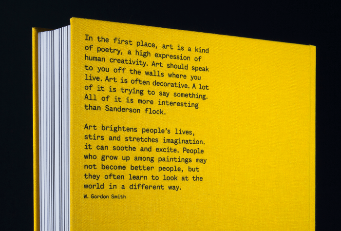 Back Cover: screenprinted excerpt of W. Gordon Smith's essay on why one should collect art.