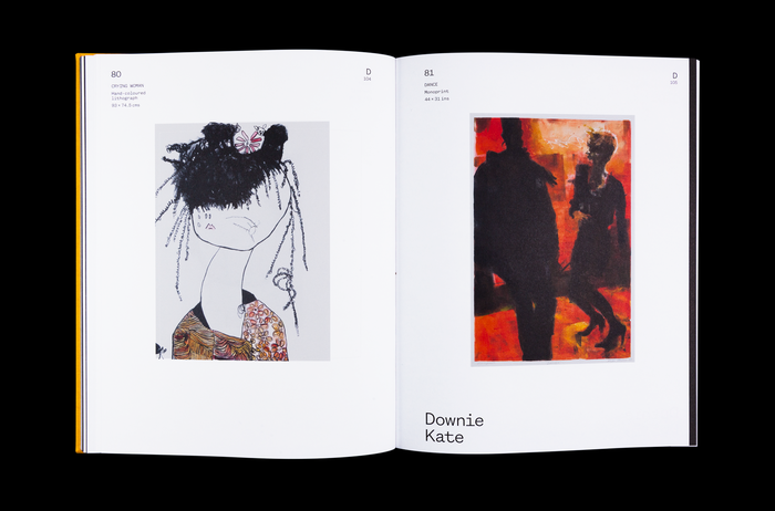 Artwork page of the alphabetically structured book, the spread shows Pat Douthwaite (left) and Downie Katie (right).