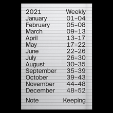 2021 Weekly Index calendar