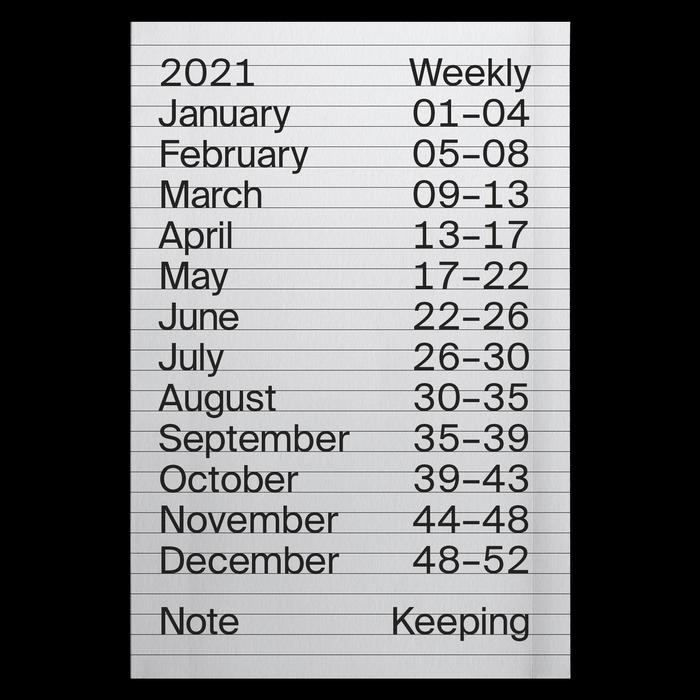 2021 Weekly Index calendar 1