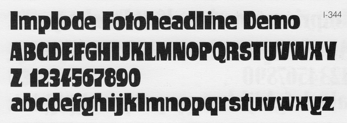 Glyph set of Implode as shown in a Typeshop catalog.
