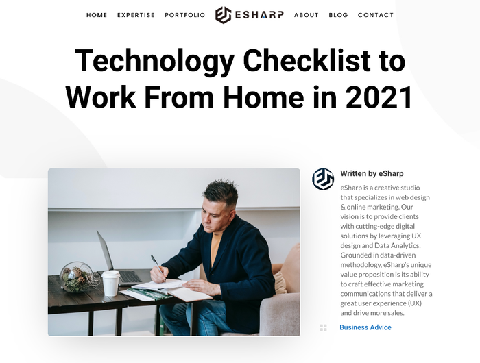 eSharp portfolio website 3