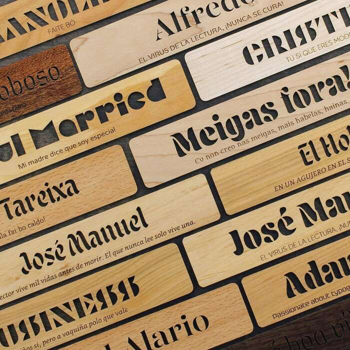 Selection of wooden bookmarks with six different display typefaces.