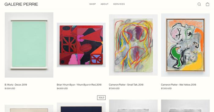 Galerie Perrie website 3