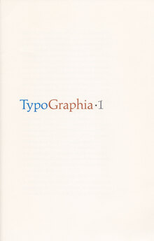 <cite>Typographia·1</cite>, The Adagio Press