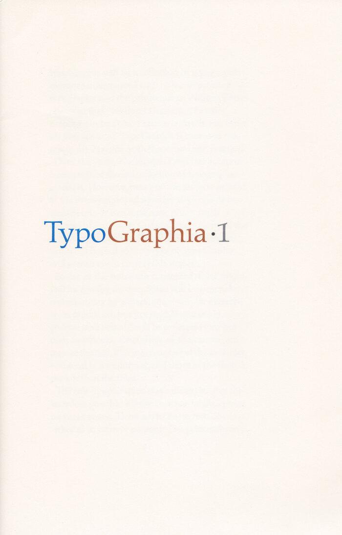 Typographia·1, The Adagio Press 1