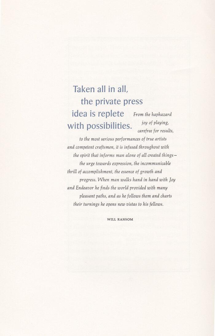 Typographia·1, The Adagio Press 2
