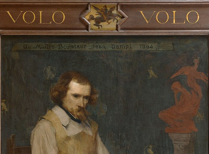 Detail from Edmond Aman-Jean's portrait of sculptor Jean Dampt.