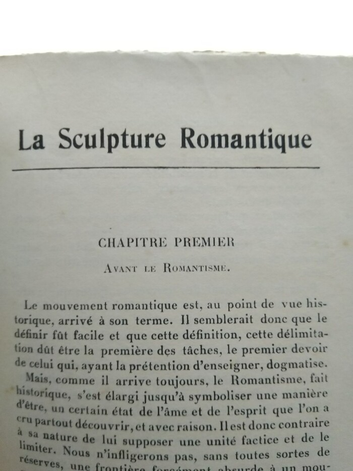 """""""La Sculpture Romantique"""" is set in  Condensed or a version thereof, see e.g. FTF's Canadiennes. The text typeface is yet unidentified."""