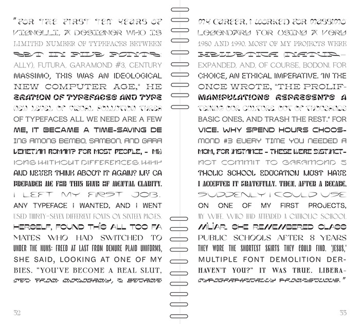 Spread with the quote by Michael Bierut, set in 25 different typefaces. From top to bottom, these are:  Gang, Kraft, Charon, 12:51, Lapicide, Parabole, Clifton, Pilowlava, Euphoria, Salicorne, BD Retrocentric, Alt Display, Basylisk, CNVS, Glyphworld Meadow, Digestive, Icarus, Apfel Grotezk, Love, Misto, Grand Slang, Le Murmure, Halyard Micro, Sprat, Ornamentum.