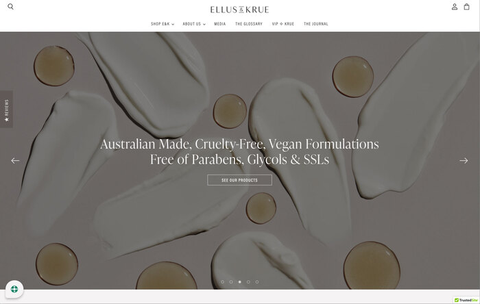 Ellus & Krue skincare website 3