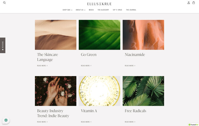 Ellus & Krue skincare website 6