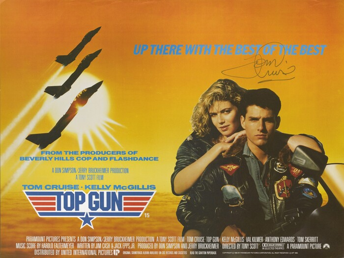 British movie poster, signed by Tom Cruise.