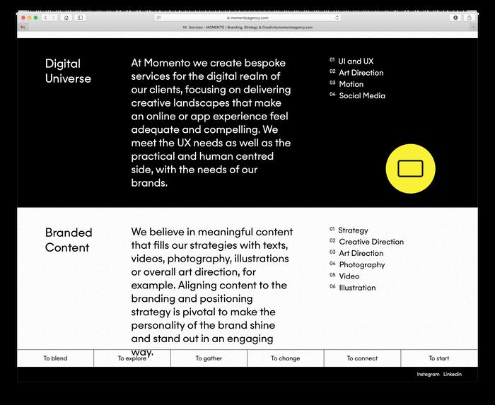 Momento Agency website 7