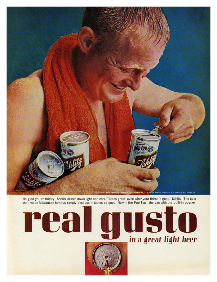 """""""Real gusto in a great light beer"""", 1963."""