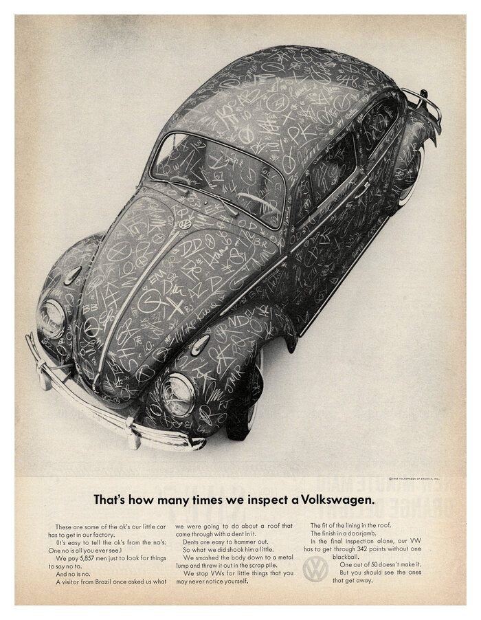 """That's how many times we inspect a Volkswagen"", 1963."