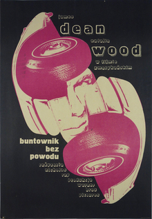 <cite>Buntownik bez powodu</cite> (<cite>Rebel Without a Cause</cite>) Polish movie poster