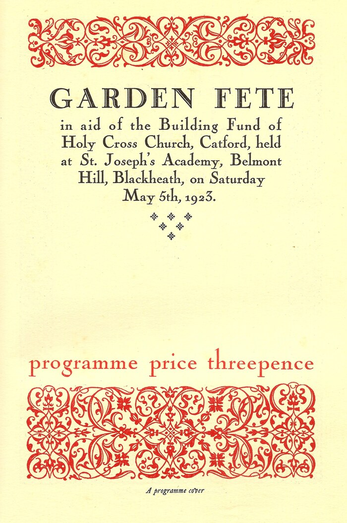 Program cover for a Garden Fete, Holy Cross Church, Catford, May 5th 1923. Nicolas Cochin is paired with a headline in  (1921).