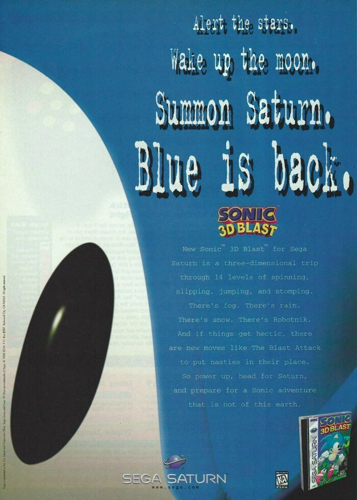 """""""Blue is back"""" Sonic 3D Blast video game ad (1996)"""