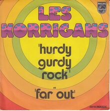 "Les Korrigans – ""Hurdy Gurdy Rock"" / ""Far Out"" single cover"