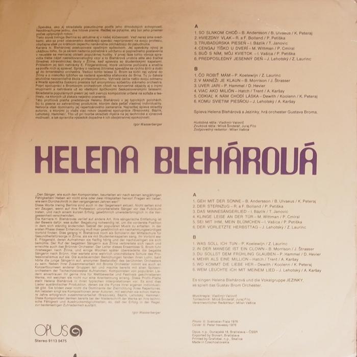 Helena Blehárová album (rear).