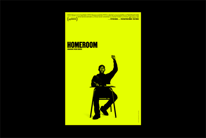 Movie poster for Homeroom, designed by Mucho, with a yellow background, featuring Dwayne Davis with a raised fist.