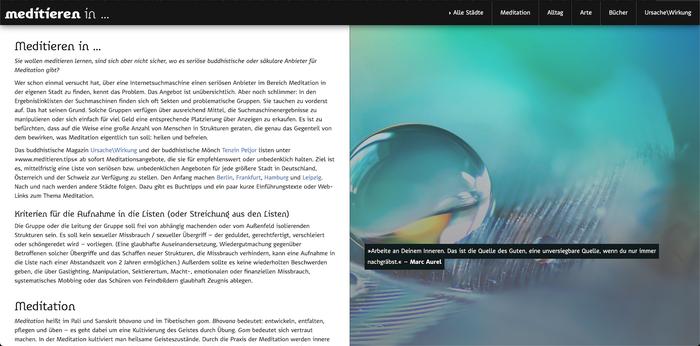 Meditieren in … website (2020) 1