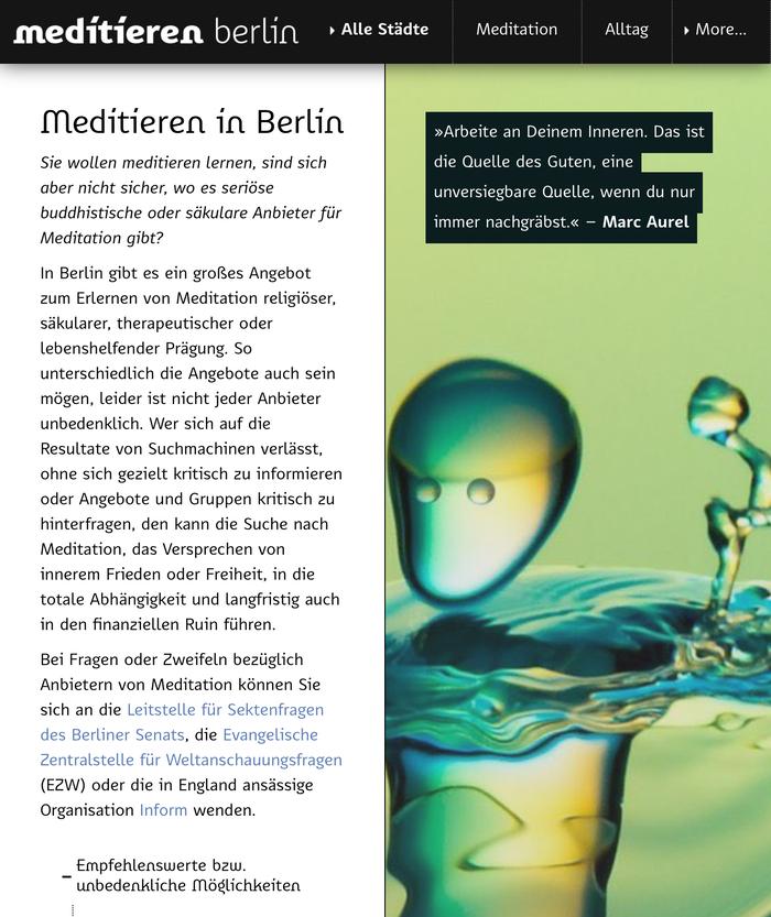 Meditieren in … website (2020) 6