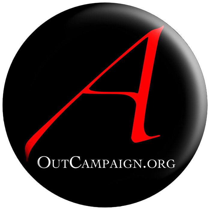 """Scarlet A"" button with the OutCampaign.org URL set in  underneath."