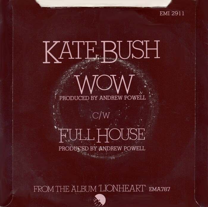 "Sleeve for Kate Bush's 1979 single ""Wow"" (back)."