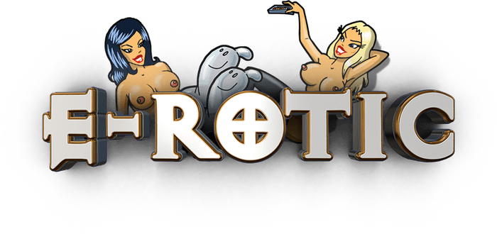 """A variant of their logo circa 2017 (with characters from the """"Video Starlet"""" single cover, 2016), using a slightly rounded edit of Exocet."""