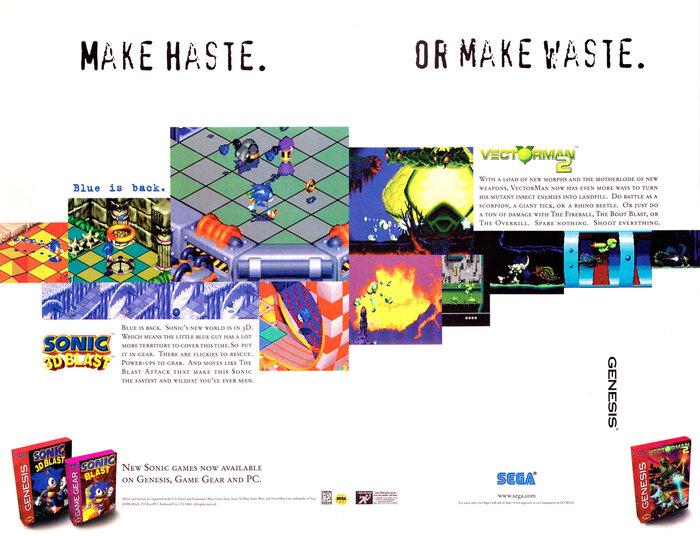 """Make Haste. Or Make Waste."" Sonic 3D Blast video game ad (1996)"