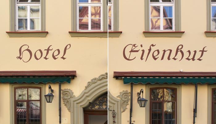 Detail of the façade lettering at Hotel Eisenhut, Rothenburg.
