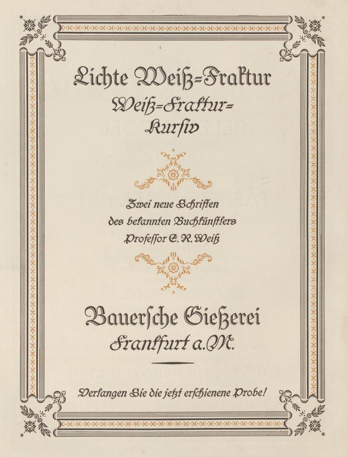 Ad by the Bauersche Gießerei for Lichte Weiß-Fraktur (an open cut of ) and  in Typographische Mitteilungen, vol. 22, no. 2 from February 1925.