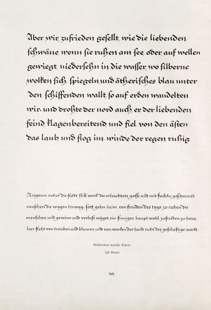 "Calligraphy sample (""Geschriebene deutsche Schrift"") by Ilse Bentel. Reproduced in Gebrauchsgraphik, vol.2, no.1 from 1925, a special issue about ""Schrift und Schriftschreiber"", as part of a series of works that originated at the Kunstgewerbeschule Stuttgart."