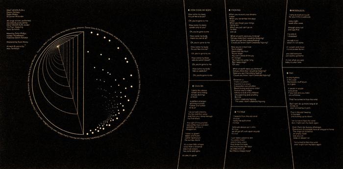 Vinyl sleeve design featuring lyrics and credits.