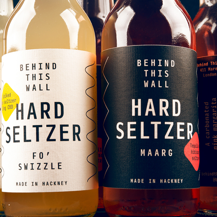 Behind This Wall hard seltzer labels