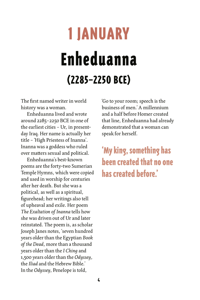 Page for 1 January, commemorating Enheduanna, the earliest known poet whose name has been recorded.