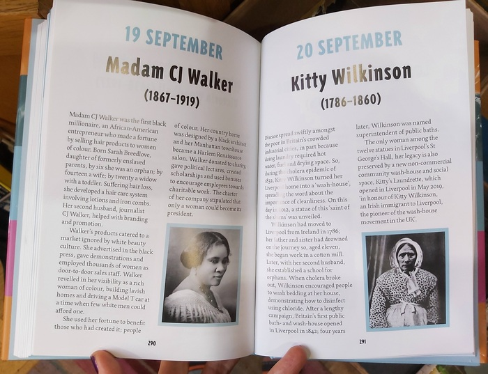 Spread from the September chapter, presenting Madam CJ Walker and Kitty Wilkinson.