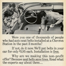 "Chevron ""Seat belts save lives""<cite> </cite>ad (1962)"