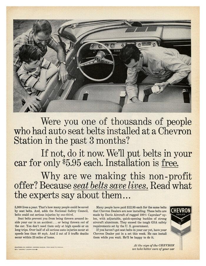 "Chevron ""Seat belts save lives"" ad (1962)"