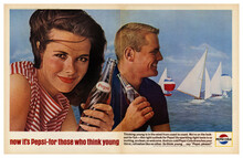 """Now it's Pepsi – for those who think young"" ad (1964)"