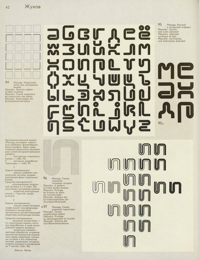 A page in The Lettering Art. Works by Moscow book designers 1959–1979, showing Zhukov's Meander.