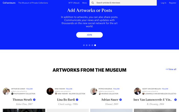 Collecteurs, The Museum of Private Collections website 2