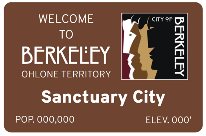 """The example sign uses ITC Rennie Mackintosh for the """"Berkeley"""" part;  for """"Sanctuary City"""" (which may be variable or absent in some signs); and something like  for """"Ohlone Territory""""."""