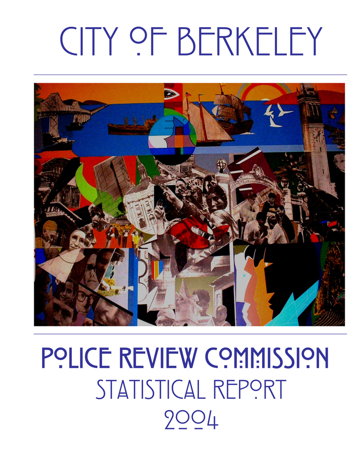 Front cover of the City of Berkeley Police Review Commission Statistical Report 2004, showing parts of the mural The City and Its People, with the segment that was used for the logo in the lower right.