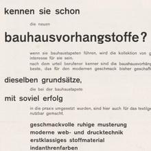 Bauhausvorhangstoffe ad from C. E. Baumgärtel & Sohn
