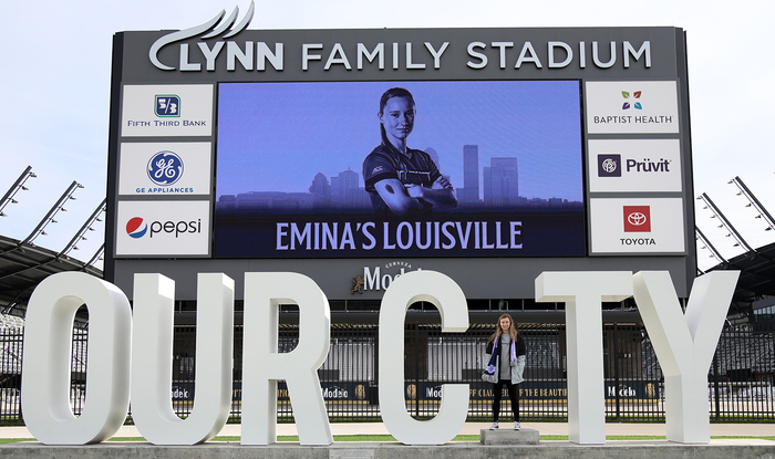 """""""Lynn Family Stadium"""" uses all-caps , """"Our City"""" is in ."""